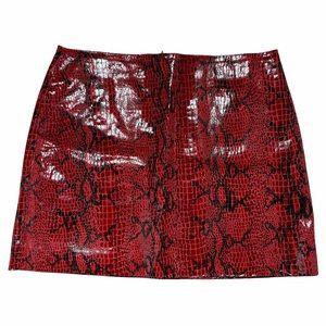 Light Before Dark Snake Print Leather Skirt M